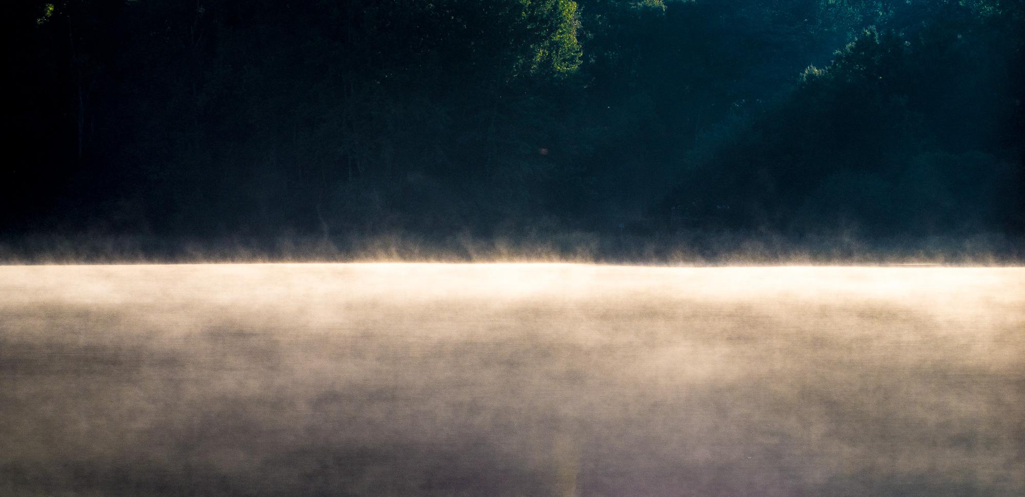 Morgendlicher Dunst auf dem Mönchsteich, von der Sonne zum Leuchten gebracht