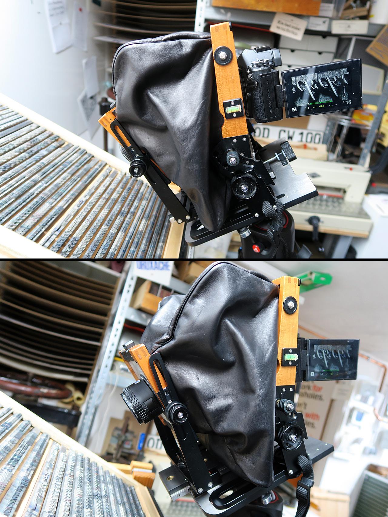 Bleilettern fotografieren: mit der Digitalkamera an die Großformatige adaptiert