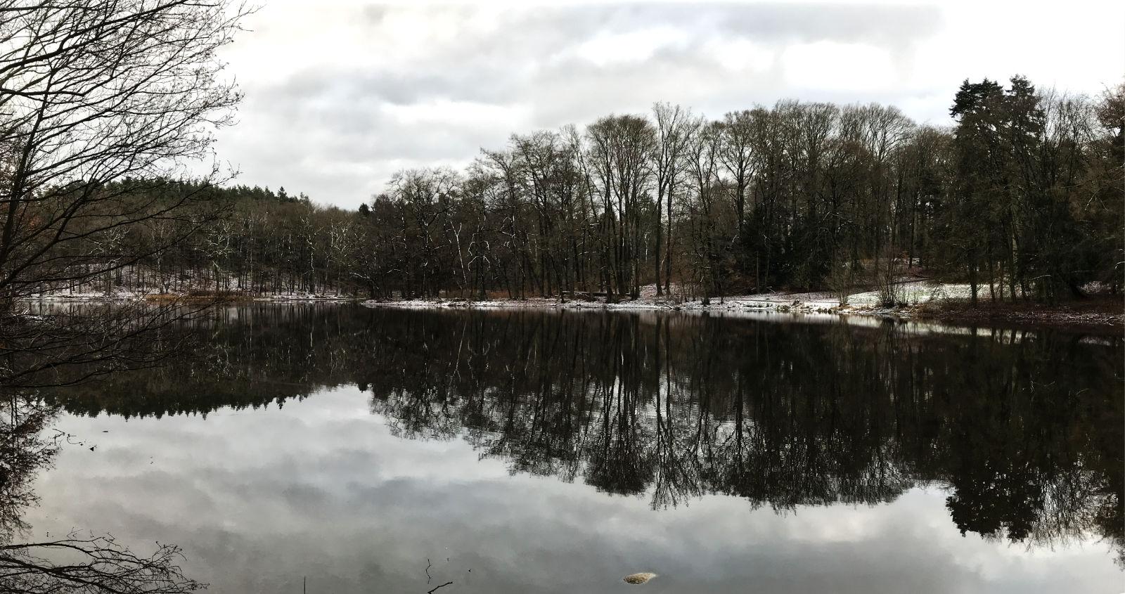 Panorame des Teichs im Park Manhagen