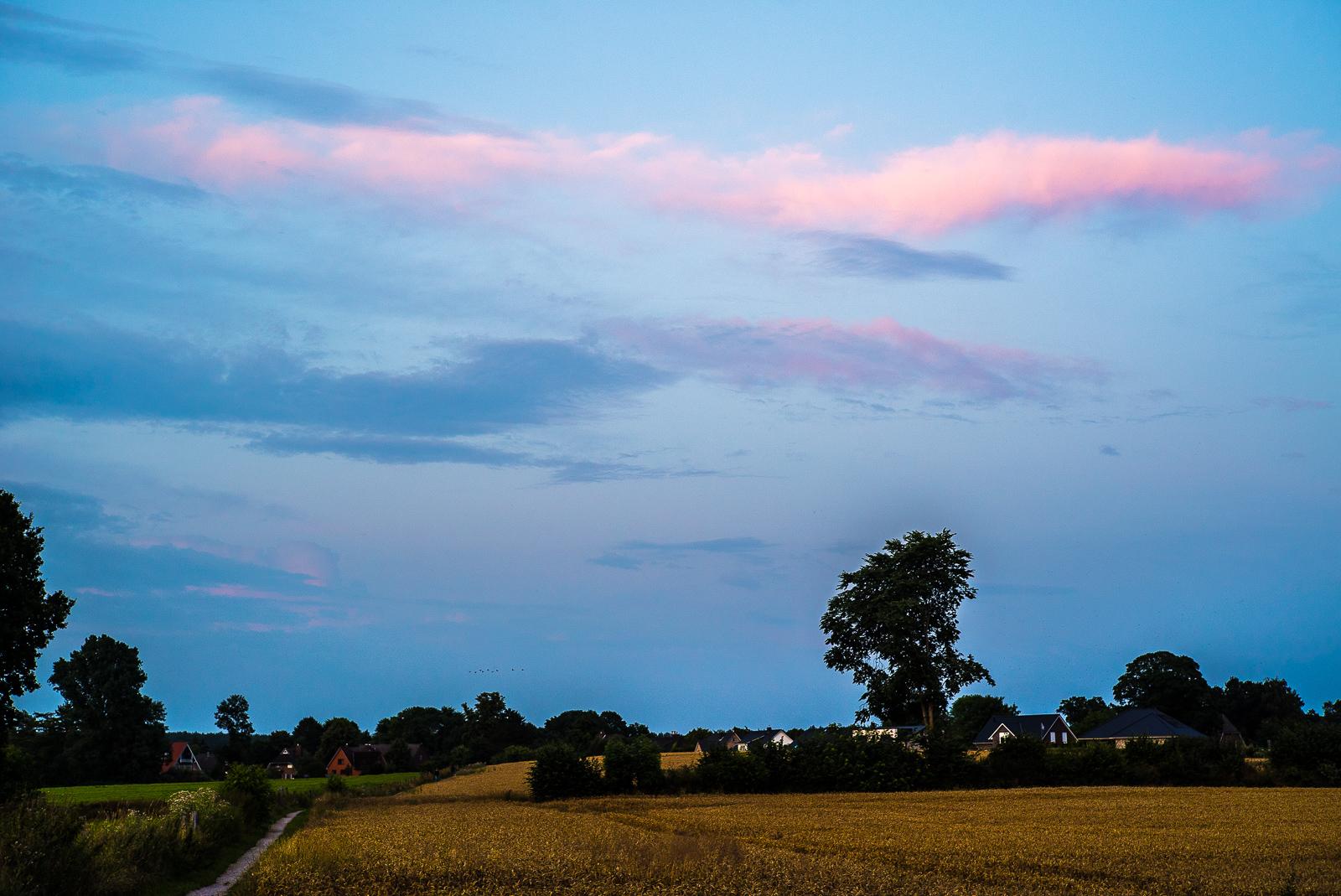 rötlich leuchtende Abendwolke über dörflicher Feldrandlage